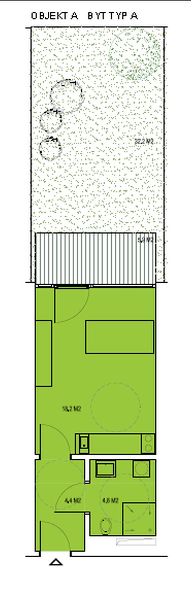 budova A, byt A 27,3m + zahradka