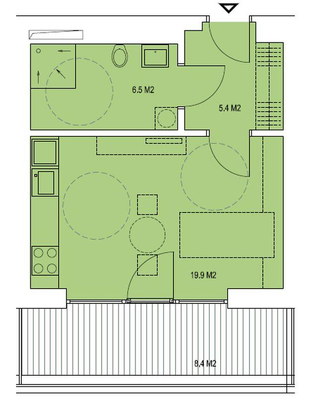 budova A, byt D 31,9 m + terasa