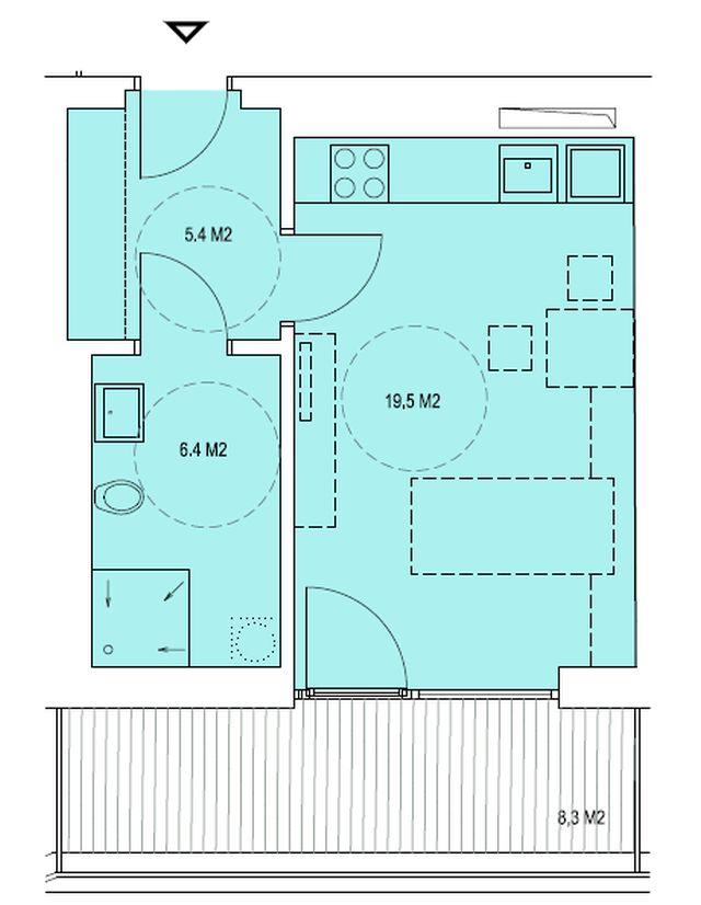 budova A, byt K 31,3m + terasa