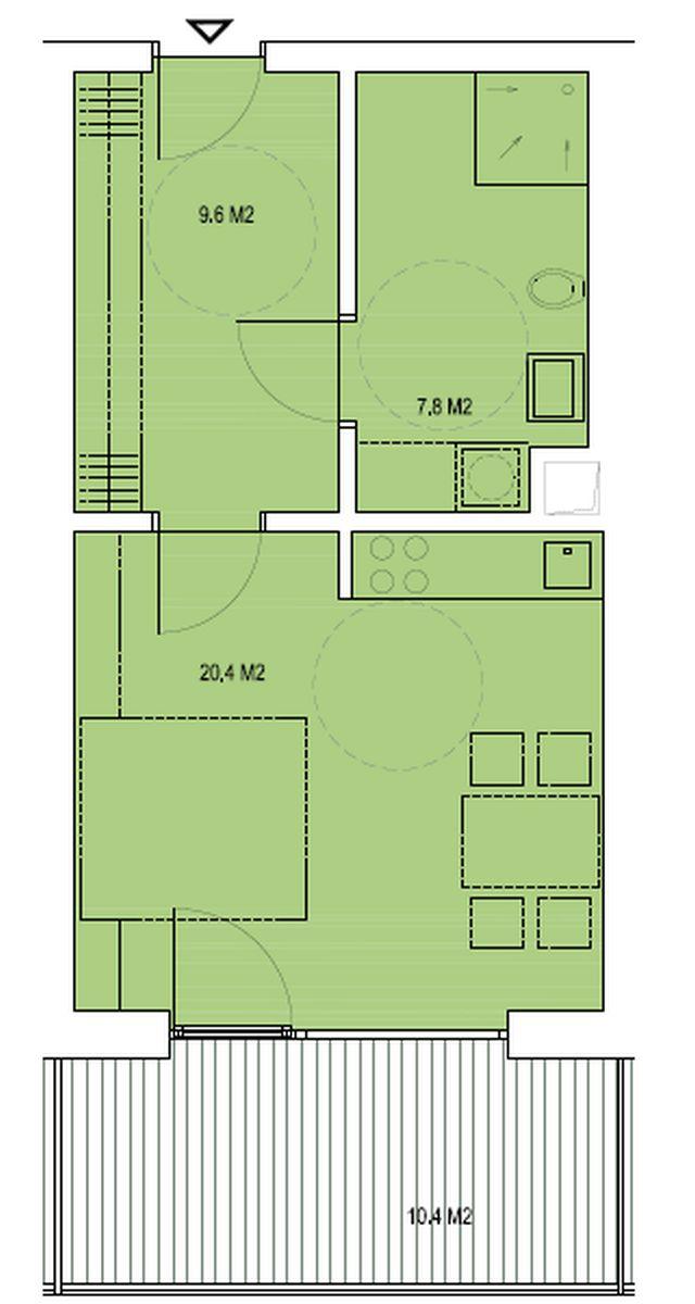 budova B, byt O1 37,8m + balkon