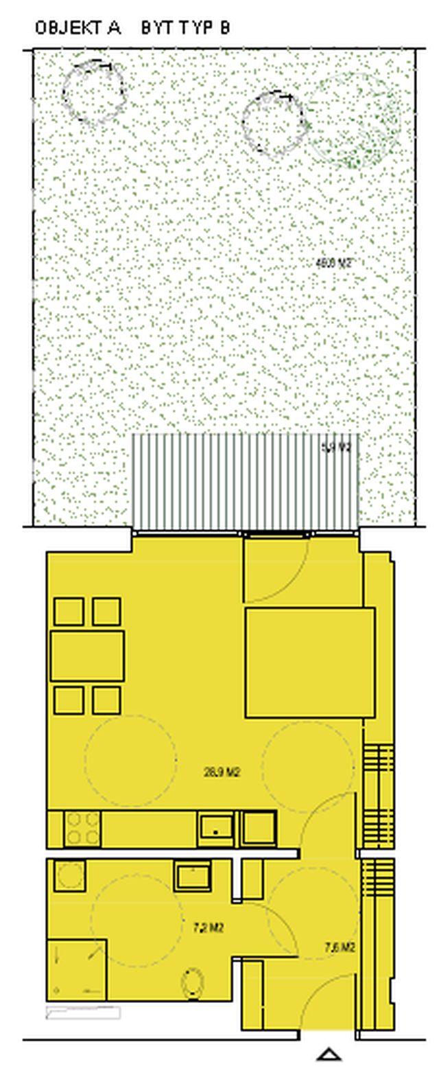 budova A, byt B 42 m2 + zahrádka