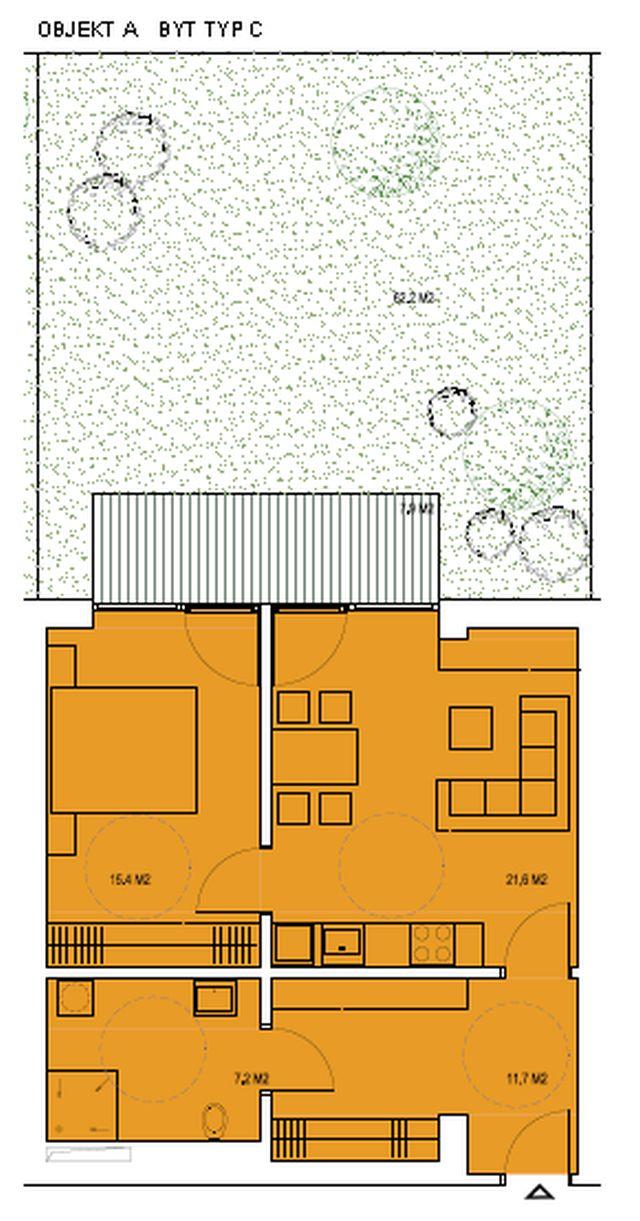 budova A, byt C 55,9m + zahrádka