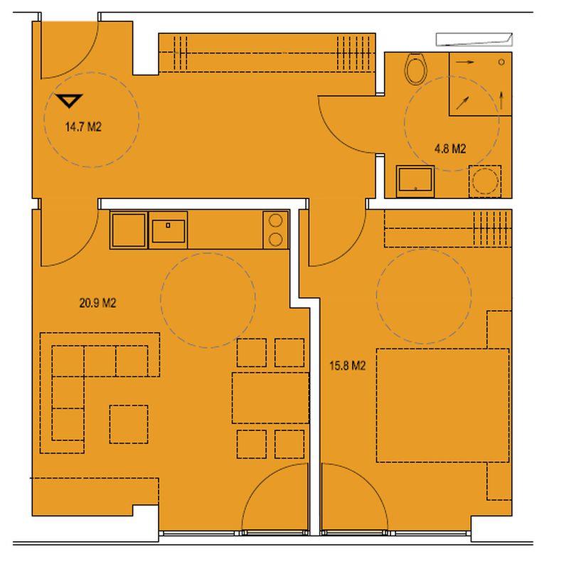 budova A, byt C2 56,2 m