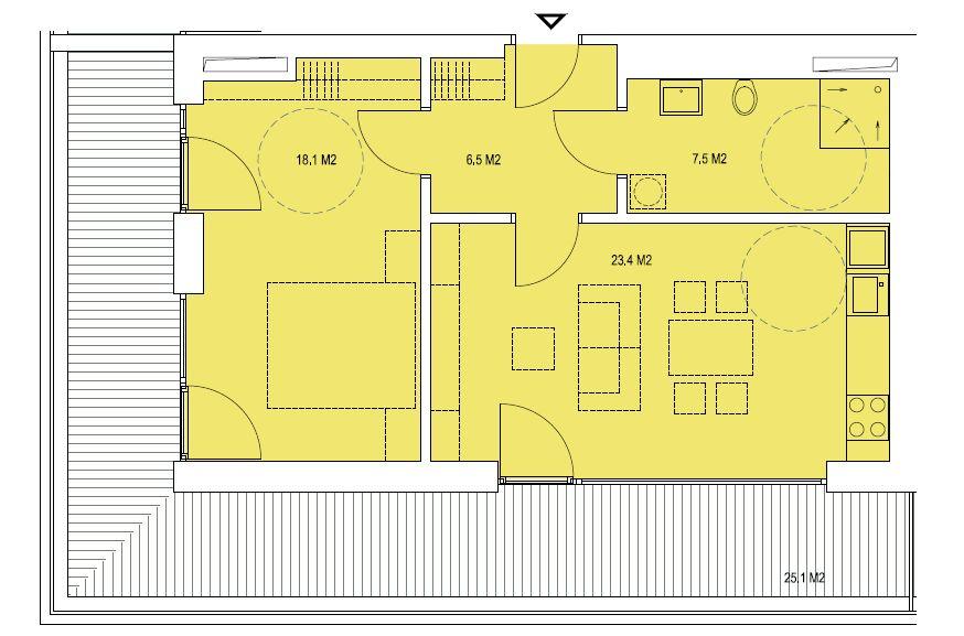 budova A, byt E 55,5m + terasa