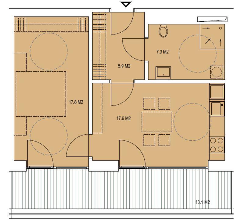 budova A, byt G 48,6 m