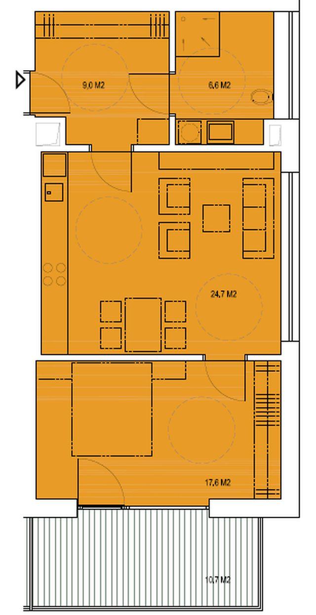 budova B, byt M1 57,9m + balkon