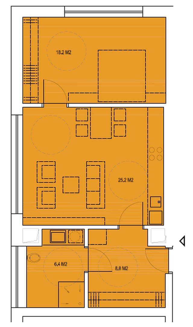 budova B, byt M2 58,6 m