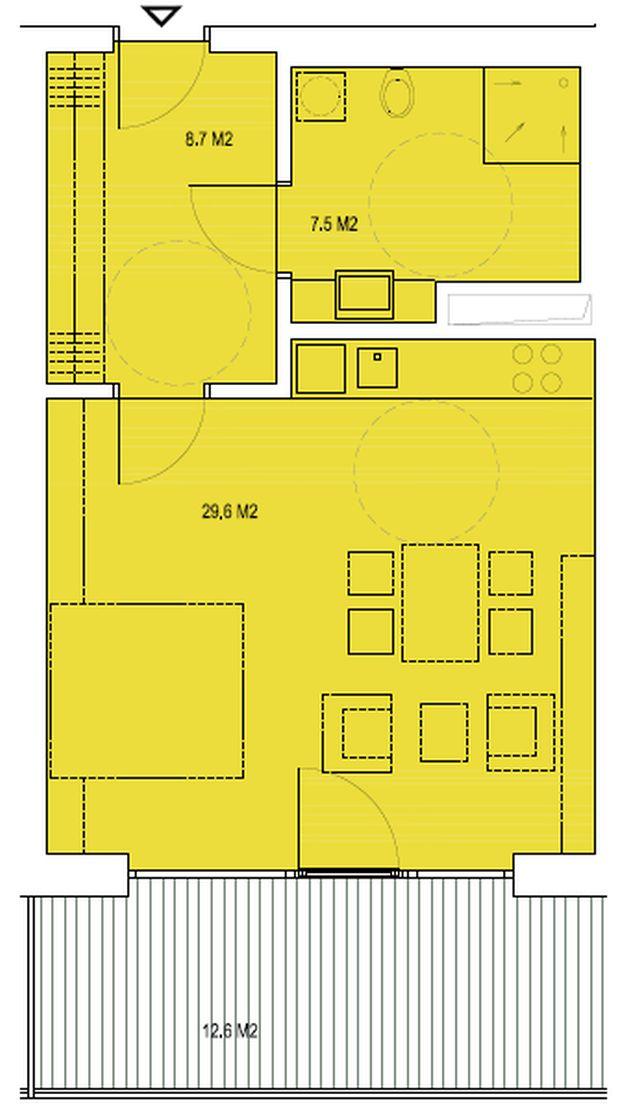 budova B, byt N1 45,7 m2 + balkon