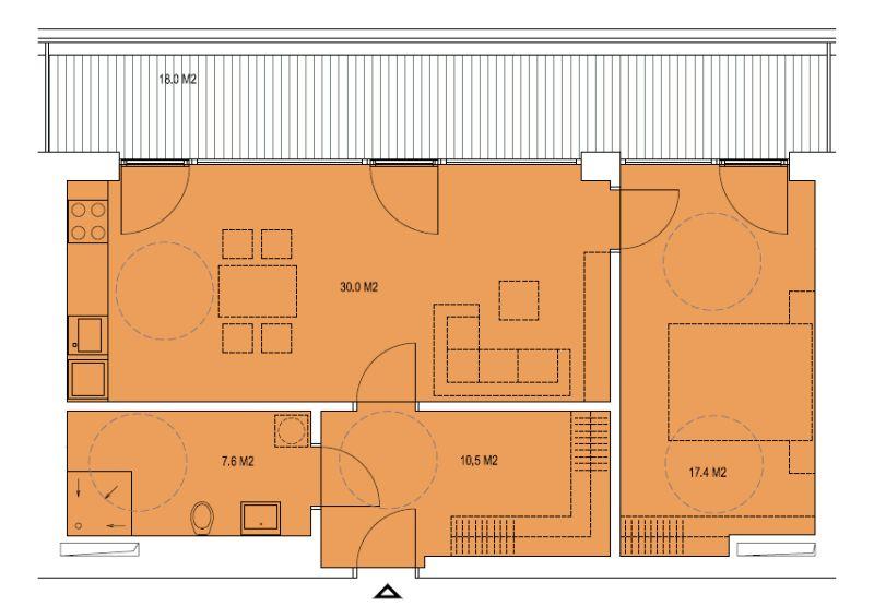 budova A, byt F 65,6 m2 + terasa