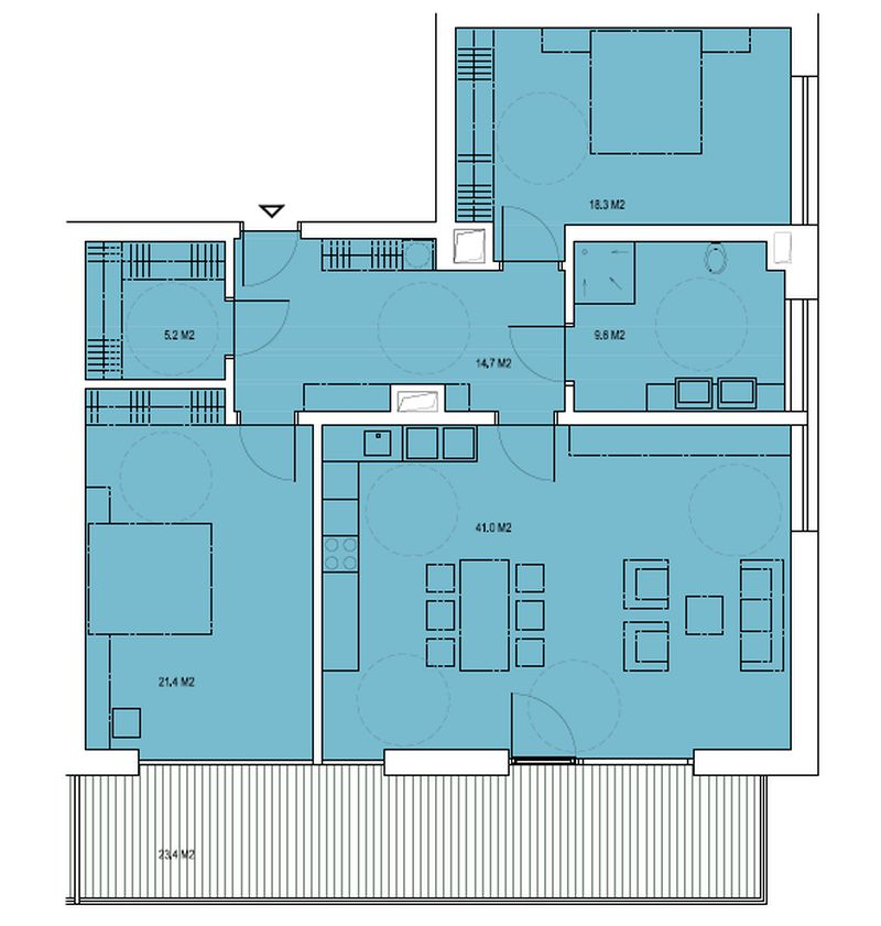 budova B, byt Q 110,1m + balkon