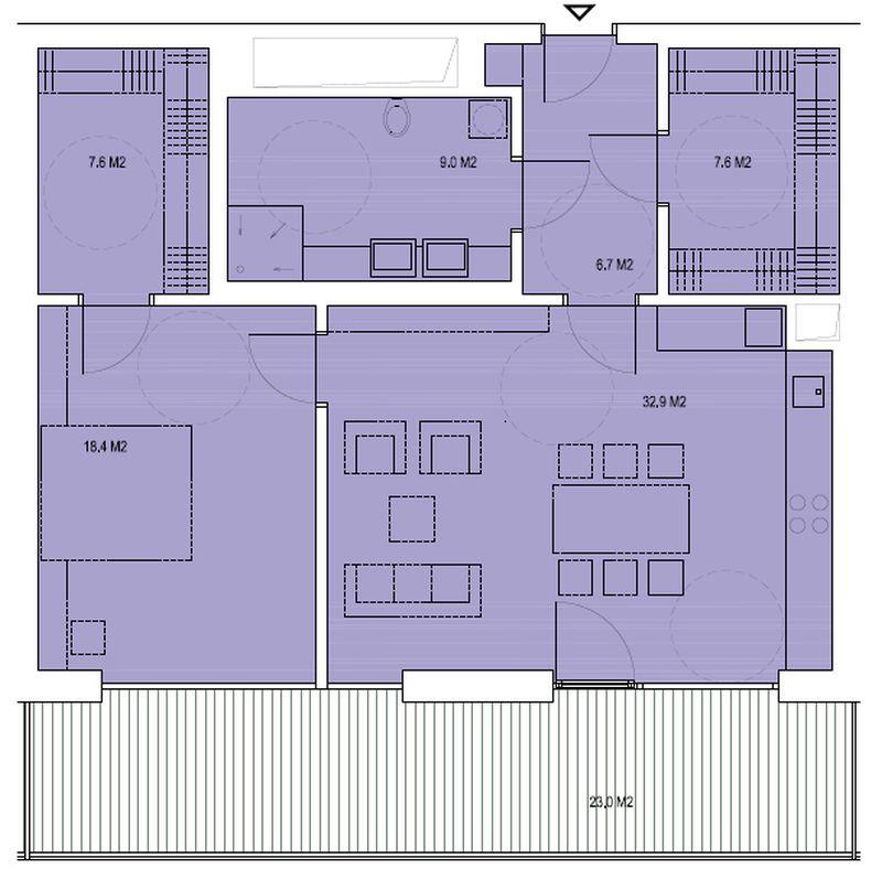 budova B, byt R1 82,2m + balkon