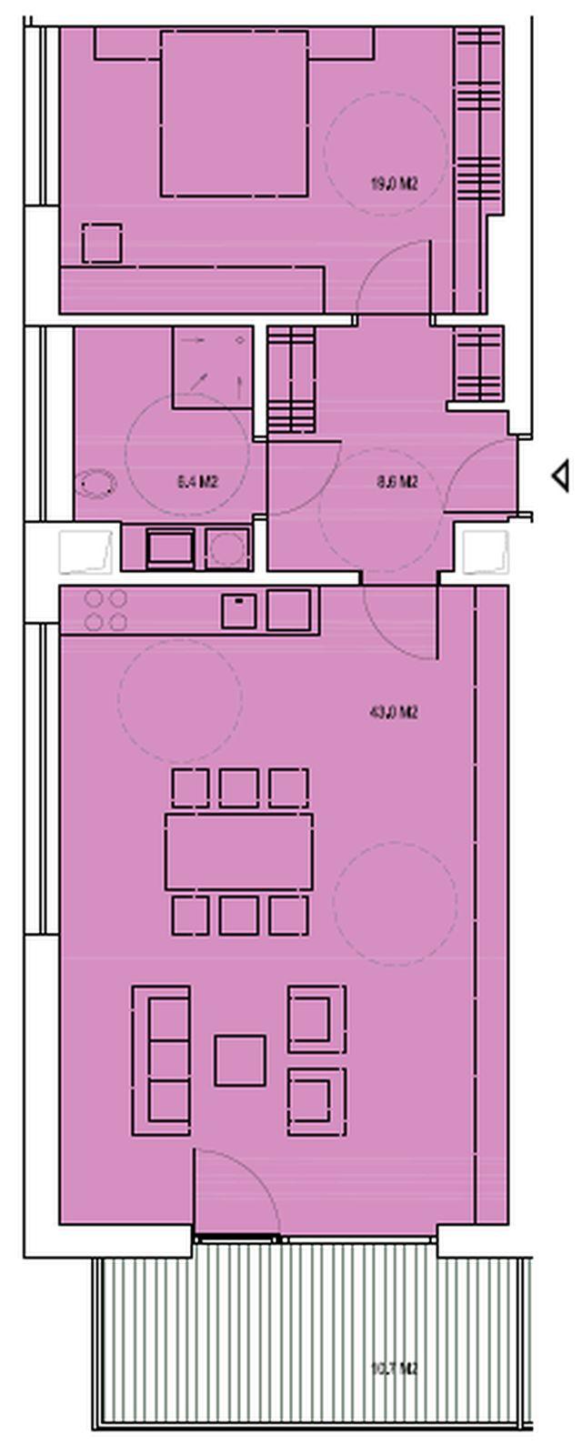 budova B, byt T1 77,1m +balkon