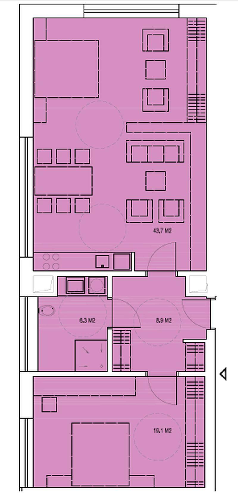 budova B, byt T2 78m