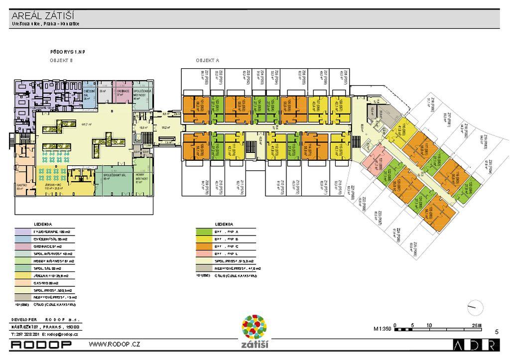 půdorys 1. nadzemní podlaží - přízemí, A jsou byty se zahrádkou